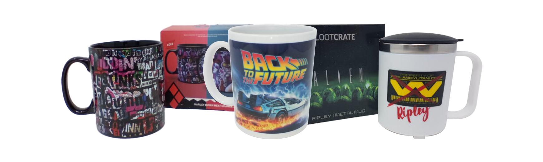 Collection of mugs available at Dorset Tech